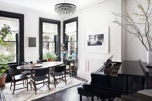 living room black windows